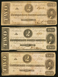 Confederate Notes:Group Lots, T54 $2 1862 PF-1; PF-11 Cr. 396; Cr. 392. T61 $2 1863 PF-6 Cr. 471.... (Total: 3 notes)