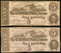Confederate Notes:1862 Issues, T53 $5 1862 PF-13 Cr. 388 Two Examples.. ... (Total: 2 notes)