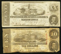 Confederate Notes:Group Lots, T51 $20 1862 PF-4; Cr. 365. T59 $10 1863 PF-19; Cr. 442. ...(Total: 2 notes)