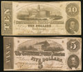 Confederate Notes:Group Lots, T52 $10 1862 PF-1 Cr. 369. T53 $5 1862 PF-13 Cr. 388. ... (Total: 2notes)