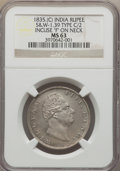 India:British India, India: British India - East India Company. William IV Rupee 1835-(C) MS63 NGC,...