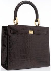 "Ferre Black Crocodile Leather Tote Bag with Gold Hardware Good to Very Good Condition 11.5"" Wid"