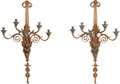 Decorative Arts, French:Lamps & Lighting, A Pair of French Gilt Bronze and Cloisonné Five-Light Wall Sconces,late 19th century. 41-1/2 inches high x 25 inches wide (... (Total:2 Items)