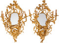 Decorative Arts, French:Lamps & Lighting, A Pair of Louis XV-Style Gilt Bronze Four-Light Girandole Mirrors,20th century. 41 inches high x 27 inches wide (104.1 x 68...(Total: 2 Items)