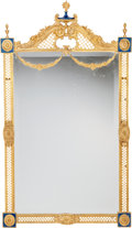 Decorative Arts, French:Other , A Pair of Louis XVI-Style Gilt Bronze and Enamel Mirrors, 20thcentury. 48 inches high x 27-1/2 inches wide (121.9 x 69.9 cm...(Total: 2 Items)