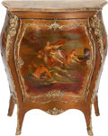 Furniture : French, A Vernis Martin-Style Painted Bombé Cabinet with Gilt Bronze Mountsand Marble Top, late 19th century. 47 inches high x 38-1...