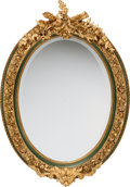 Decorative Arts, French:Other , A Pair of French Baroque-Style Painted and Partial Gilt OvalMirrors, 19th century. 45 inches high x 32 inches wide (114.3 x...(Total: 2 Items)