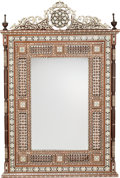 Decorative Arts, Continental:Other , A Pair of Moorish Mother-of-Pearl and Bone Inlaid Mirror Frames,20th century. 55-1/2 inches high x 36-3/4 inches wide (141....(Total: 2 Items)