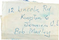 Music Memorabilia:Autographs and Signed Items, Bob Marley - A Very Rare Handwritten Name And Address Card(1971)....
