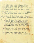 "Music Memorabilia:Documents, Stevie Ray Vaughan: Early Version of Lyrics to the Song ""Couldn't Stand the Weather"" in Vaughan's Hand...."