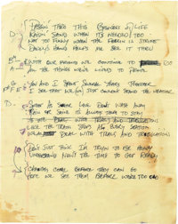 """Stevie Ray Vaughan: Early Version of Lyrics to the Song """"Couldn't Stand the Weather"""" in Vaughan's Hand"""