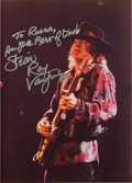 Music Memorabilia:Autographs and Signed Items, Stevie Ray Vaughan Inscribed and Signed Photograph, 1989....