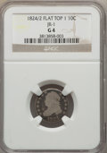Bust Dimes, 1824/2 10C Flat Top 1, JR-1, R.3, Good 4 NGC. NGC Census: (1/10).PCGS Population (0/6). Mintage: 100,000....