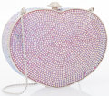 "Luxury Accessories:Bags, Judith Leiber Full Bead Pink Crystal Heart Minaudiere Evening Bag .Excellent Condition . 5.5"" Width x 4"" Height x 1.5..."