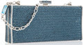 """Luxury Accessories:Accessories, Judith Leiber Full Bead Blue Crystal Rectangular Minaudiere EveningBag. Excellent Condition. 6"""" Width x 2.5"""" Height x..."""