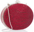 "Luxury Accessories:Accessories, Judith Leiber Full Bead Red Crystal Circular Minaudiere Evening Bag. Excellent Condition. 5"" Width x 4"" Height x 1.5"" ..."