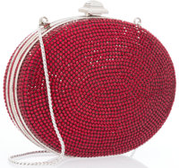 "Judith Leiber Full Bead Red Crystal Circular Minaudiere Evening Bag Excellent Condition 5"" Width"