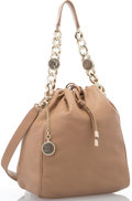 """Luxury Accessories:Accessories, Bulgari Beige Leather Shoulder Bag with Gold Hardware. Excellent Condition. 10"""" Width x 13"""" Height x 6"""" Depth, 10"""" Han..."""
