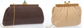 """Luxury Accessories:Accessories, Judith Leiber Set of Two; Beige Karung Snakeskin & Brown Lizard Clutch Bag. Good to Very Good Condition. Snakeskin: 7""""... (Total: 2 Items)"""