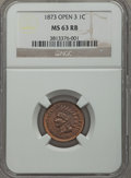 Indian Cents, 1873 1C Open 3 MS63 Red and Brown NGC. NGC Census: (14/112). PCGSPopulation (105/279). Mintage: 11,676,500. Numismedia Wsl...