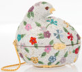 """Luxury Accessories:Accessories, Judith Leiber Full Bead Multicolor Crystal Floral Fowl MinaudiereEvening Bag. Excellent Condition. 4"""" Width x 4""""Heig..."""