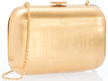 "Luxury Accessories:Accessories, Bulgari Gold Clutch. Very Good Condition. 5"" Width x 3""Height x 1"" Depth, 24"" Shoulder Drop. ..."