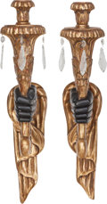 Decorative Arts, Continental:Lamps & Lighting, A Pair of Venetian Blackamoor Arm Sconces, early 20th century. 32inches high (81.3 cm). ... (Total: 2 Items)