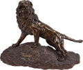 Fine Art - Sculpture, European:Antique (Pre 1900), After James Andrey (French, 20th Century). Lion Rugissant.Bronze with brown patina. 15 inches (38.1 cm) high on a 6 inc...