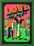 "Music Memorabilia:Posters, Beatles ""All You Need is Love"" Psychedelic Blacklight Poster (US, Circa 1969). ..."