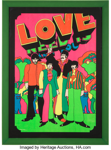 Music MemorabiliaPosters Beatles All You Need Is Love Psychedelic Blacklight Poster