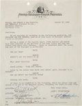 Movie/TV Memorabilia:Documents, A Bud Abbott and Lou Costello Signed Contract....