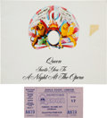 Music Memorabilia:Memorabilia, Queen: A Night at the Opera Program and Concert Ticket....