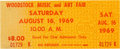 Music Memorabilia:Tickets, Woodstock Music and Art Fair: One Unused Ticket....