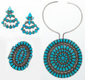 "Luxury Accessories:Accessories, Set of Three; Turquoise and Sterling Silver Necklace, Bracelet, andEarrings. Good to Very Good Condition. Pendant: 5""...(Total: 3 Items)"