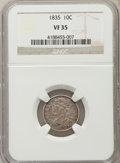 Bust Dimes: , 1835 10C VF35 NGC. NGC Census: (15/413). PCGS Population (51/525).Mintage: 1,410,000. Numismedia Wsl. Price for problem fr...