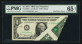 Error Notes:Foldovers, Fr. 1908-L $1 1974 Federal Reserve Note. PMG Gem Uncirculated 65EPQ.. ...