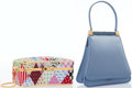 Luxury Accessories:Accessories, Judith Leiber Set of Two; Full Bead Multicolor Crystal Minaudiere & Blue Silk Top Handle Evening Bag. Excellent Condition... (Total: 2 Items)