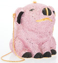 """Luxury Accessories:Accessories, Judith Leiber Full Bead Pink Crystal Pig Minaudiere Evening Bag. Excellent Condition. 3"""" Width x 3"""" Height x 2"""" Depth. ..."""