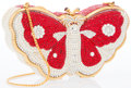 "Luxury Accessories:Accessories, Judith Leiber Full Bead Red & Silver Crystal Butterfly Minaudiere Evening Bag . Excellent Condition. 5.5"" Width 3.5"" H..."