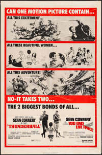"""Thunderball/You Only Live Twice Combo (United Artists, R-1971). One Sheet (27"""" X 41""""). James Bond"""