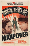 "Movie Posters:Drama, Manpower (Warner Brothers, 1941). One Sheet (27"" X 41""). Drama.. ..."