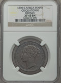 South Africa: Griquatown. Victoria bronze Pattern Penny 1890 XF45 Brown NGC