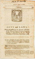 Books:Americana & American History, [Connecticut]. Acts and Laws, Made and Passed by the GeneralCourt or Assembly of the State of Connecticut, in America, ...