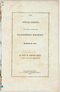 Books:Americana & American History, W. Porcher Miles. The Annual Address Delivered Before theCliosophic Society, March 29, 1847. Charleston: T. W. Hayn...