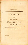 Books:Americana & American History, William Pitt. Speech of... Delivered in the House of Commons,Monday, February 3, 1800, on a Motion for an Address to th...