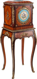 Furniture : French, A Louis XV-Style Mahogany, Kingwood, Porcelain, and Gilt Bronze Lady's Chest on Stand, 19th century. 41-1/2 inches high x 16...