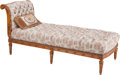 Furniture : French, A Louis XVI-Style Carved Oak Chaise Lounge, 19th century. 36-1/2inches high x 80 inches wide x 32 inches deep (92.7 x 203.2...