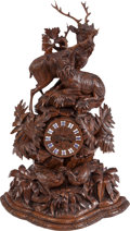 Decorative Arts, Continental:Other , A Black Forest Figural Clock with Stag and Quail, circa 1880. Marksto mechanism: H & F Paris, 3268, Medaille deBronz...