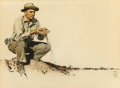 Fine Art - Work on Paper:Watercolor, Norman Rockwell (American, 1894-1978). Norman Rockwell Visits aCounty Agent in Jay, Indiana, The Saturday EveningPos...