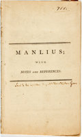 Books:Americana & American History, Christopher Gore. Manlius; With Notes and References.[Boston: Columbian Centinel, 1794]....